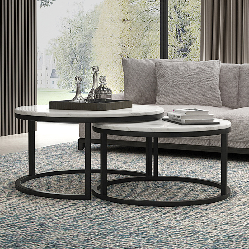 Nordic marble round coffee table combination living room modern simple home small household-type complete metal light luxury coffee table