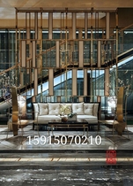 Lobby Living room Home custom partition Glass stone plate Chinese modern light luxury decorative high-end stainless steel screen