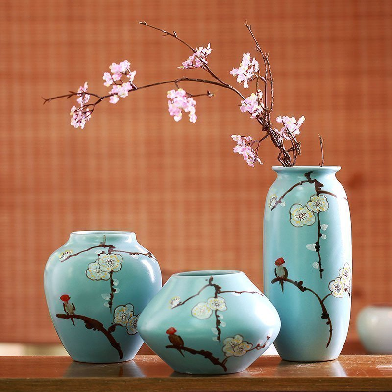 Modern Mediterranean home decoration Jingdezhen ceramics hand-painted plum vase three-piece craft decoration