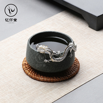 Yiqiantang Teacup Master cup Single cup Mens silver cup 999 health tea cup Silver Dragon cup Tea gift high-end