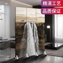 Beauty salon partition curtain yarn Chinese screen partition stack mobile solid wood hotel office custom double-sided guests
