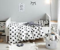 嘟巢家INS简约波点格子婴幼儿 儿童床套件全棉床单被套枕套床围