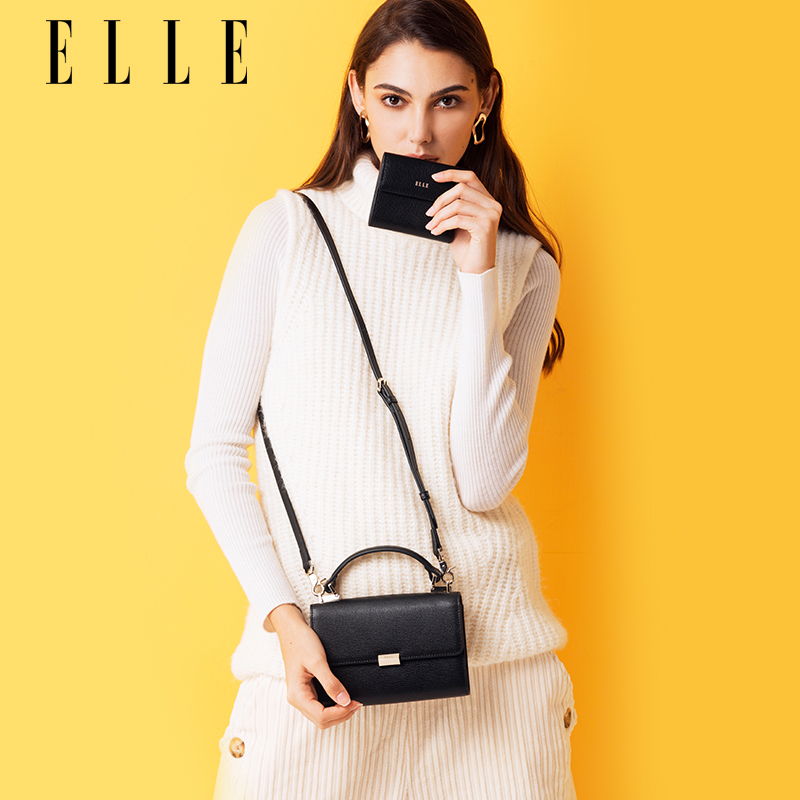 ELLEELLE lady's leather bag 62140 single shoulder bag inclined lady's mobile phone bag set lady's bag
