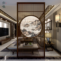 The new Chinese screen partition wall living room decorates the solid wood Xuanguan office simple modern translucent Zen seat screen