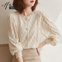 Lace bubble sleeve cardigan 2021 New loose temperament round neck apricot color heavy industry embroidery early autumn gentle style top
