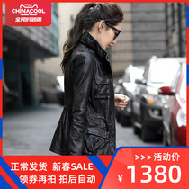 New spring and autumn old leather leather clothes in the long section of womens sheep leather motorcycle slim leather jacket coat large code