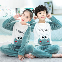 New autumn winter childrens coral velvet pajama boys and girls baby home clothing thickened boy frankinclyced set