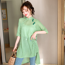 Autumn 2020 new Chinese style slanted disc buckle embroidered cheongsam young model ancient modified Chinese top girl