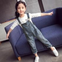 Девушки джинсовые брюки детские весенние джинсы маленькие девочки длинные брюки корейская версия весна и осень большие детские брюки