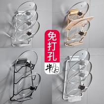 Poinçon-espace libre en aluminium pot rack rack étagères murales cuisine rack de stockage accessoires
