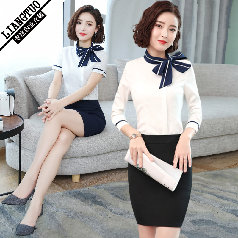 High-end professional suit Femininity jewelry store Hotel front desk frock skirt beautician overalls Stewardess uniform