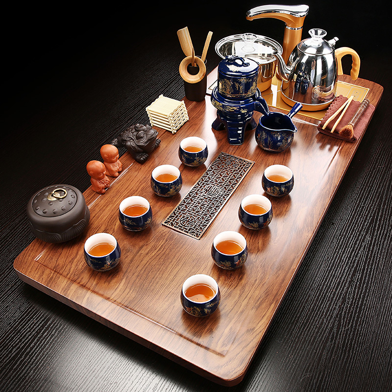 Tea set home set of tea-making solid wood large tea plate flat window flower tea table all-in-one automatic water-burning guests