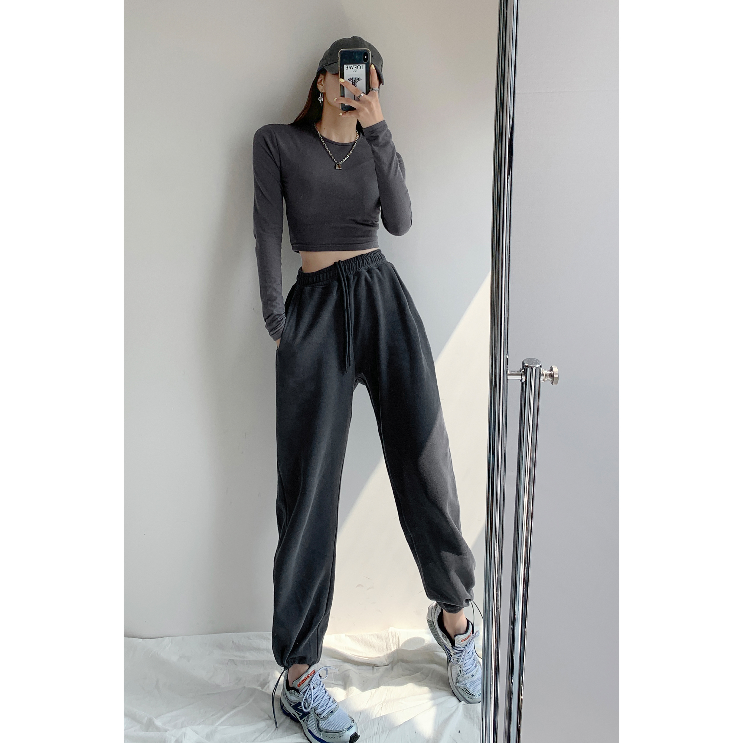 Fried Street American loose sweatpants women casual leggings spring and autumn gray high-waisted thin straight straight pants in the tide