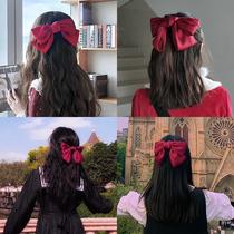 Красный большой бант заколка для волос корейские аксессуары для волос сетка рыжая карта девушка сторона клип головной убор клип топ клип INS голову веревка