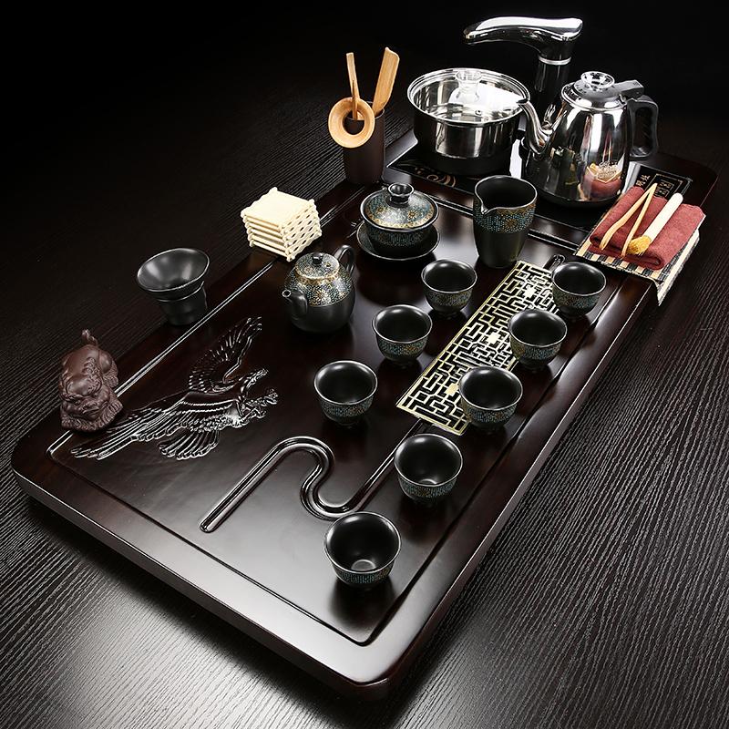 The new tea plate solid wood home office large tea table simple one-piece water-burning automatic tea set glass tea sea