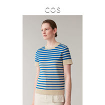 COS womens striped knitted short-sleeved top blue beige 2020 spring new 0859353001