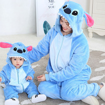 Autumn and winter parent-child Siamese clothes mother and daughter mother and child baby clothes romper childrens animal pajamas home clothes Tide