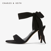 CHARLES & KEITH single shoes CK1-60360965 ladies flat ribbon bow tie high heels sandals