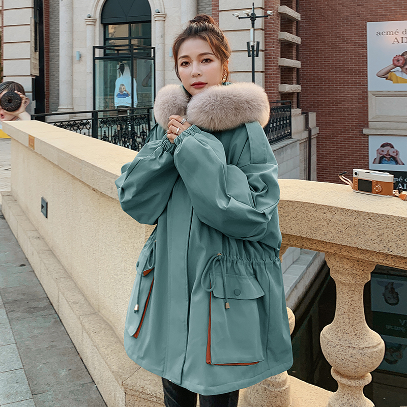 Parker cotton clothing 2020 new womens winter Korean version of loose oversize plus velvet ins port wind workers wear clothing tide