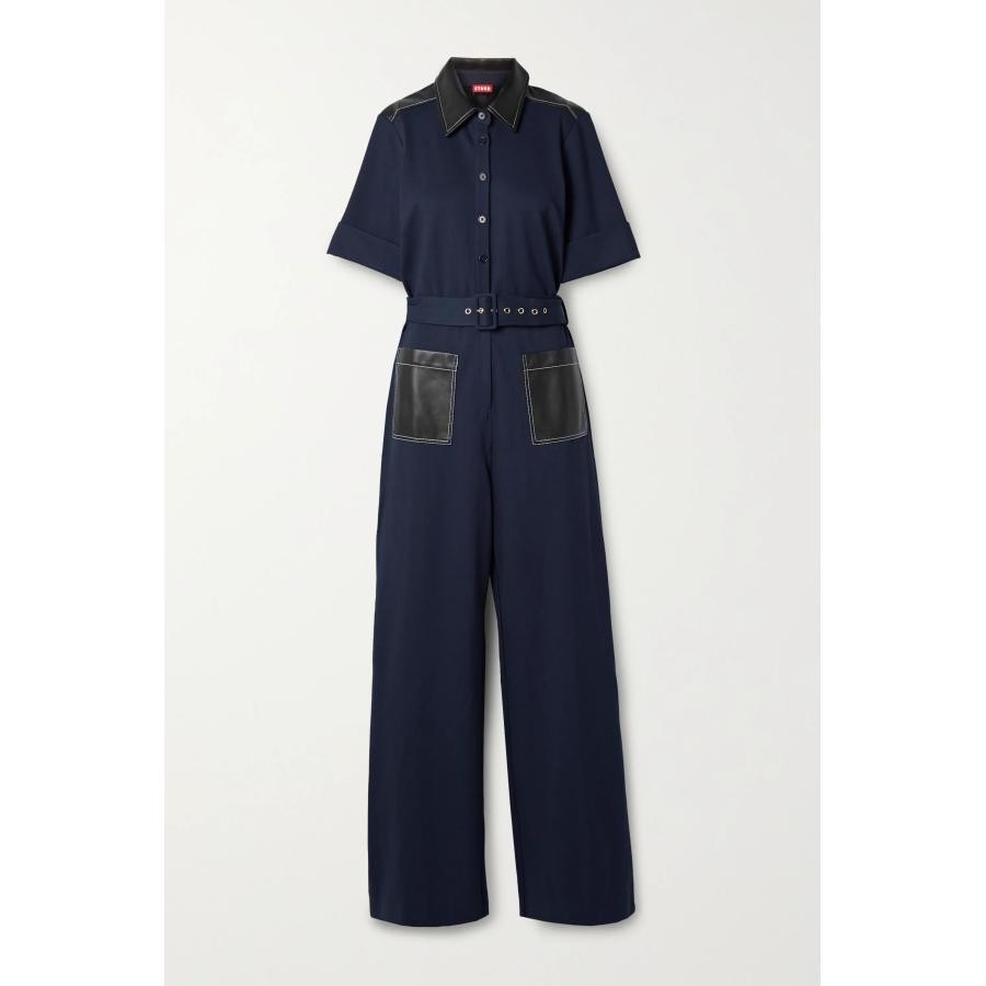 Discounted US STAUD Davey with belted leather elastic flat-print womens beach jumpsuits
