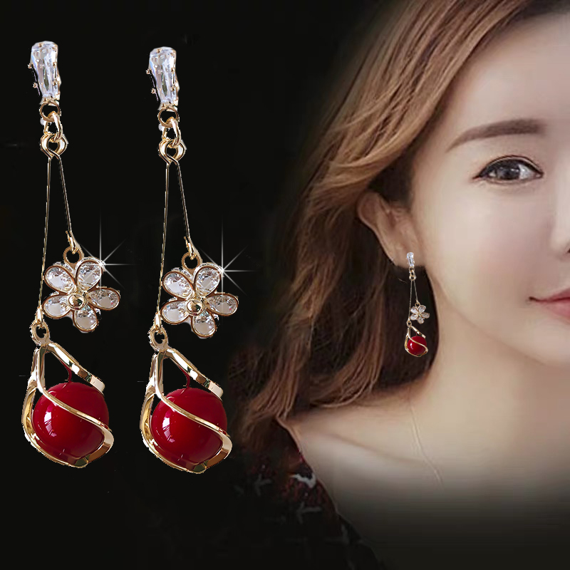 South Korean earrings womens 2021 new trendy temperament high-class atmospheric long-style pure silver earrings simple cold wind earrings