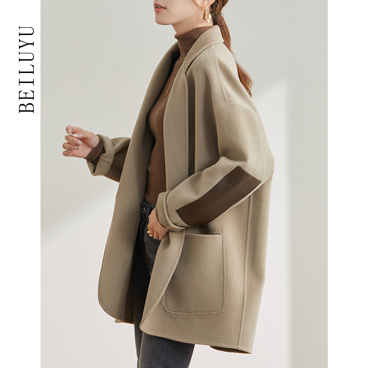 Small high-end fur coat 2020 autumn winter new Hepburn style short loose double-sided cashmere coat girl