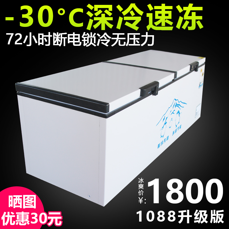 Ink-scented snow freezer commercial large-capacity refrigeration oversized single-temperature double-temperature copper tube frozen supermarket freezer