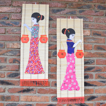Hot selling ethnic minority wind bamboo hanging painting characteristics of home decoration bamboo painting Travel Crafts