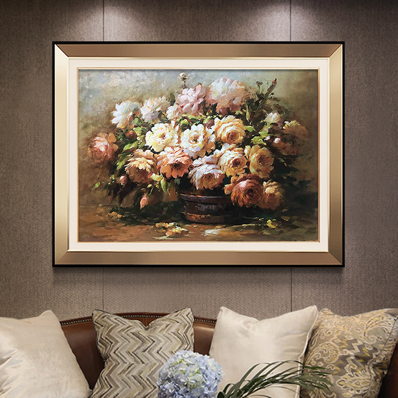 American living room hanging painting European restaurant mural porch decoration painting pure hand-painted custom flower still life hand-painted oil painting