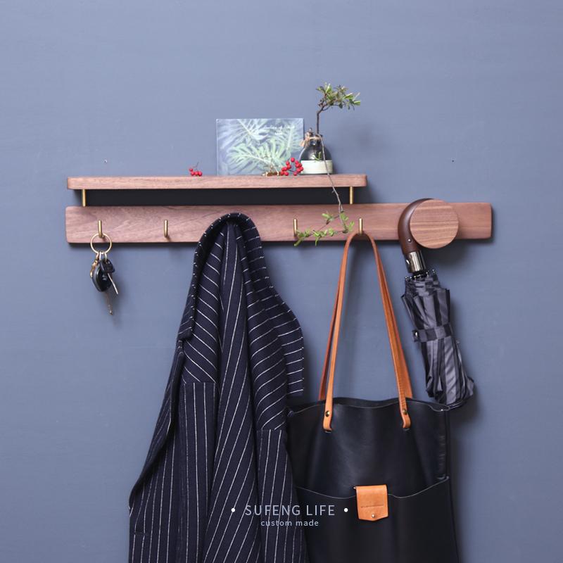 Vegetarian wind hook into the door hanger wall hanging creative black coat cap hook bag key hook frame solid wood