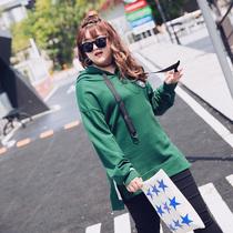 Fat MM autumn wind sweater Harajuku Girls hooded long soft-girls long sleeve blouse plus size ladies small fresh coat