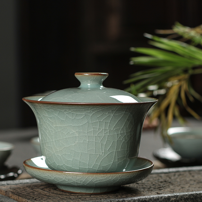 Qing porcelain three only to cover a bowl of tea cup large household tea set Longquan go kiln ice crack ceramic single