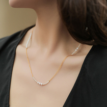 Ma Lin jewelry special design 24k pure gold double fine chain freshwater pearl short clavicle chain necklace