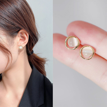 2021 new earrings female French niche design sense earrings simple small and exquisite light luxury high-end earrings tide