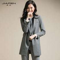 Jiayuan 2018 autumn and winter new fashion temperament a buckle slimming skinny medium and long suit jacket