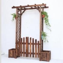 Solid wood arch Flower frame horticultural anticorrosive wood garden door vine climbing rattan wood flower rack mesh arch Flower rack