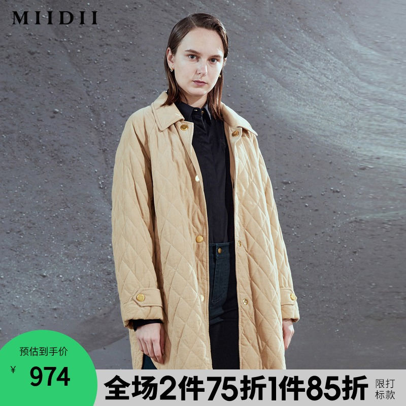 (Shopping mall same)MIIDII mystery 20 winter new loose middle long cotton coat jacket female 204MF2494