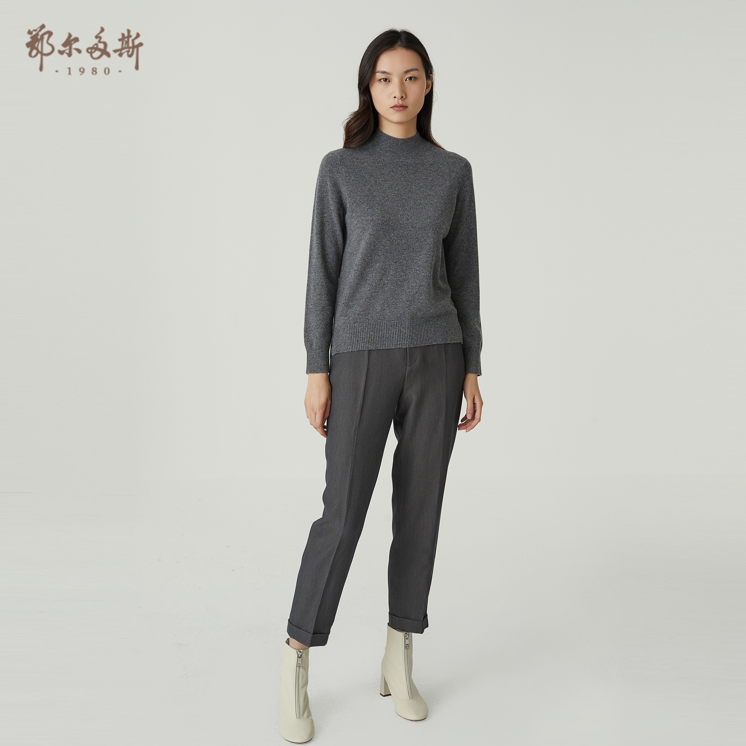 Ordos 1980 20 autumn winter new semi-high-necked womens casual cashmere sweater