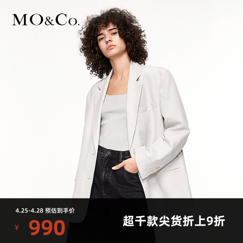 Antibacterial series MOCO spring and autumn new linen double slit silhouette blazer Moan Ke