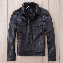 Spring first layer of cowhide genuine leather mens turndown collar slim fit leather jacket