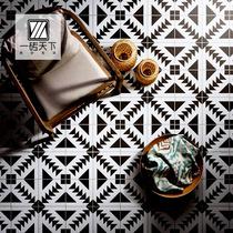 Nordic black and white tiles 300 balcony bathroom kitchen tile wall brick parquet Tile Art 200 Small Tiles