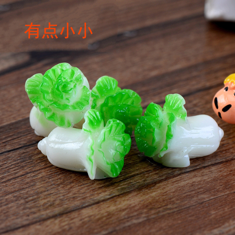 Jade cabbage resin doll home decoration childrens birthday baking cake set-up supplies plug-in
