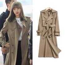 blackpink lisa with the long windbreaker Womens Small autumn 2021 New temperament jacket Joker