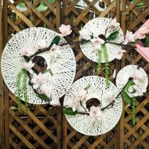 创意手工柳编飞碟圆形花篮橱窗背景墙面壁挂家居婚庆装饰挂件