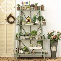 American countryside Retro as old iron four-storey decorative rack shop display Decorative shelves large flowerpot rack