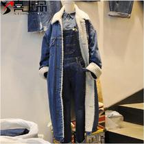 2020冬季新品韩国东大门羊羔毛牛仔外套女加厚宽松长款棉衣加绒