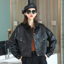 2021 autumn and winter new leather short thin top womens sheepskin casual wild lapel motorcycle suit jacket