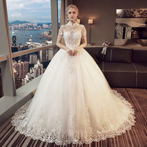 Married Europe and the United States Princess Court display elongated tail collar dress