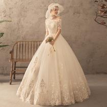 A word shoulder wedding big size show thin wedding dress