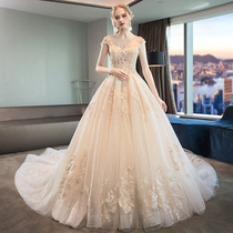 One-word shoulder-elongated tail dream large-size winter wedding dress